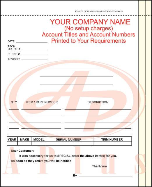 Parts Order Form. Computer Service Order Form Sample Sample
