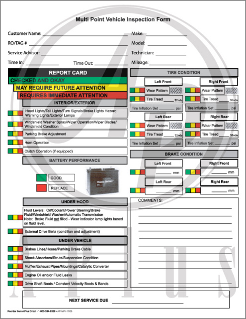 MPI 11 08 Multi Point Vehicle Inspection Form 2 Part